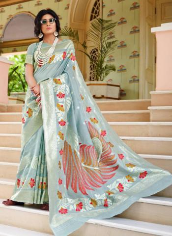 Grey Silk Party Wear Weaving Saree