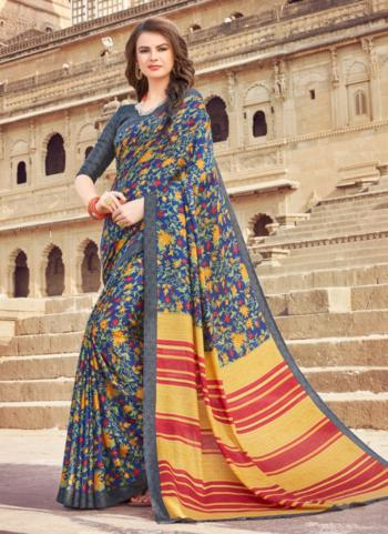 Grey Silk Regular Wear Printed Work Saree