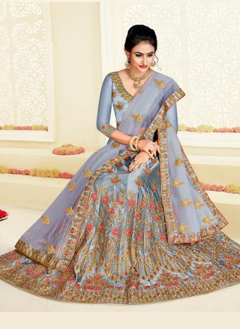 Grey Silk Wedding Wear Embroidery Work Lehenga Choli
