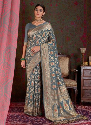 Indian Wedding Wear Grey Silk Weaving Saree