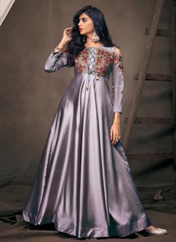 Grey Tapeta Silk Festival Wear Embroidery Work Gown