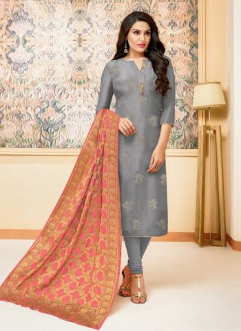 Grey Upada Silk Regular Wear Zari Work Churidar Style