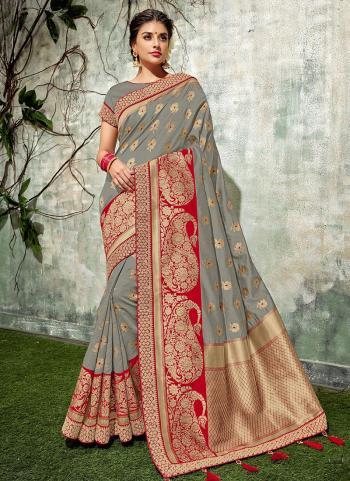 Grey Weaving Silk Wedding Wear Zari Work Saree
