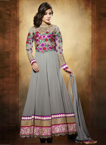 Grey Wholesale Anarkali Suit With Georgette