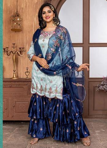 Ice Blue Fancy Wedding Wear Embroidery Work Sharara Suit
