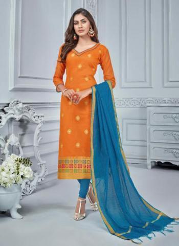 Jacqaurd Orange Regular Wear Zari Work Churidar Suit