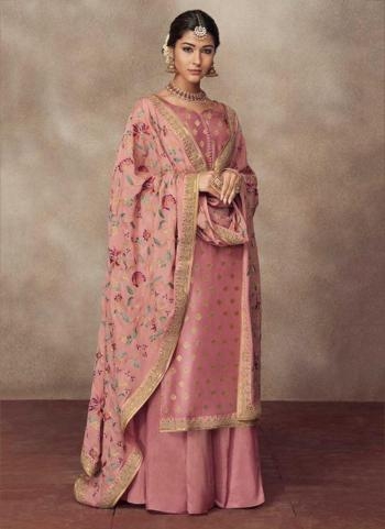Jacqaurd Silk Pink Embroidery Work Festival Wear Palazzo Suit