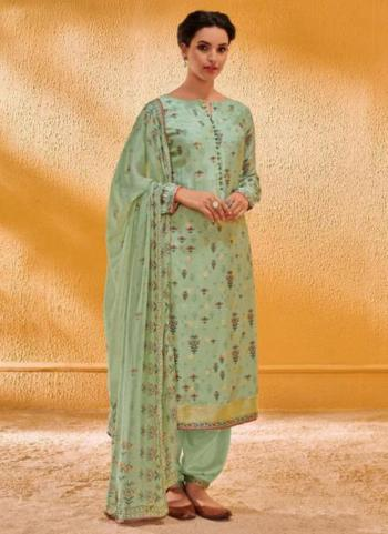 Jacqaurd Silk Pista Green Festival Wear Digital Print Salwar Suit
