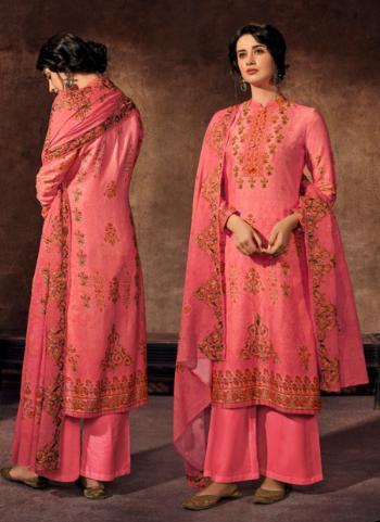 Jam Satin Pink Festival Wear Khatli Work Palazzo Suit