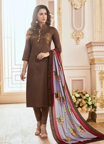Jam Silk Brown Hand Work Regular Wear Churidar Suit