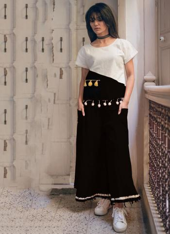 Khadi Black Patch Work Party Wear Western Top