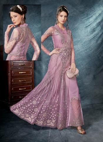 Lavender Net Reception Wear Heavy Embroidery Work Salwar Suit