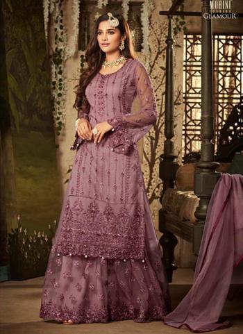Lavender Net Reception Wear Heavy Embroidery Work Sharara Style