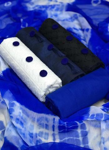 Lawn Cotton Blue Chikan Work Regular Wear Salwar Suit