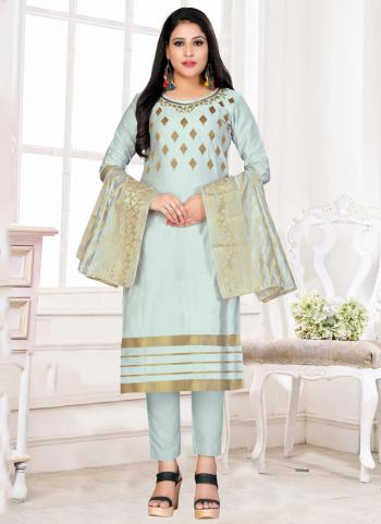 Light Blue Glace Cotton Regular Wear Zari Embroidery Work Churidar Suit