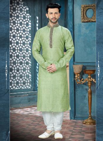 Light Green Banglori Silk Festival Wear Embroidery Work Sherwani Style