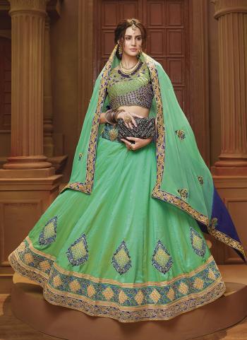 Light Green Banglori Silk Festival Wear Lace Work Lehenga Choli