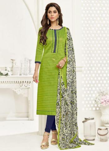 Light Green Chanderi Cotton Regular Wear Fancy Work Churidar Suit