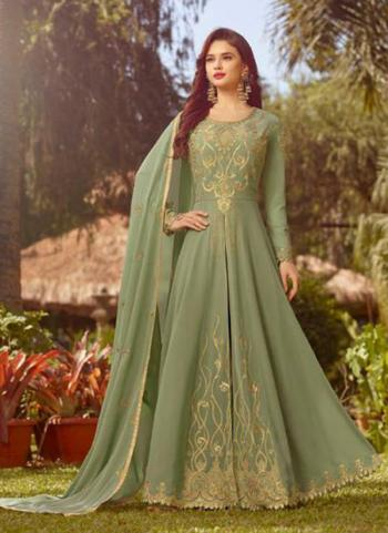 Light Green Georgette Festival Wear Heavy Embroidery Work Anarkali Style