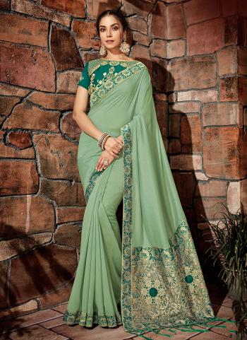 Light Green Georgette Silk Party Wear Coading Work Saree