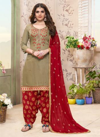 Light Green Glace Cotton Casual Wear Embroidery Work Patiala Suit
