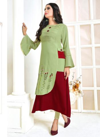 Light Green Heavy Rayon Casual Wear Embroidery Work Kurti