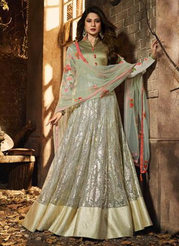 Light Green Lycra Resham Work Festival Wear Anarkali Suit
