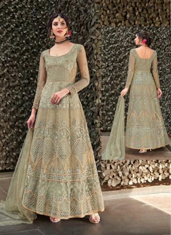Light Green Net Embroidery Work Wedding Wear Anarkali Suit