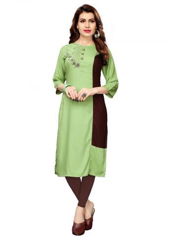 Light Green Rayon Regular Wear Katha Work Kurti