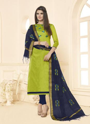 Light Green Slub Cotton Office Wear Embroidery Work Churidar Style