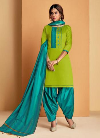 Light Green Soft Silk Daily Wear Embroidery Work Patiala Suit