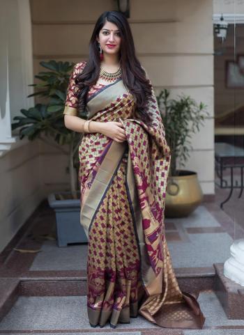 Banarasi Silk Magenta Festival Wear Zari Work Saree
