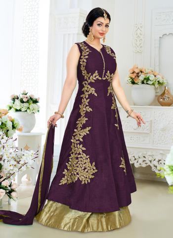 Magenta Georgette Bridal Wear Embroidery Work Anarkali Style