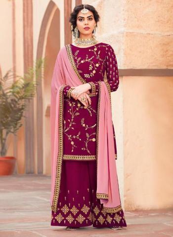 Magenta Georgette Reception Wear Embroidery Work Sharara Suit