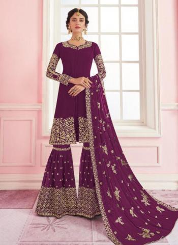 Magenta Georgette Wedding Wear Embroidery Work Sharara Suit