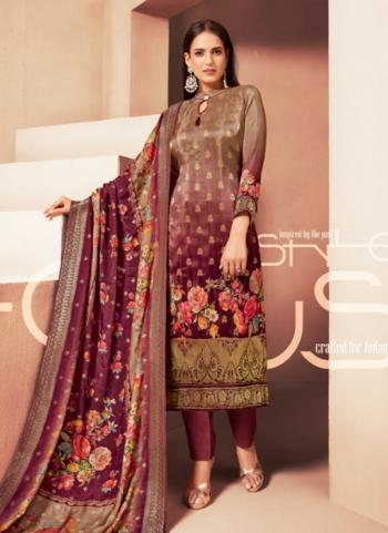 Maroon Banarasi Jacquard Festival Wear Digital Print Churidar Suit