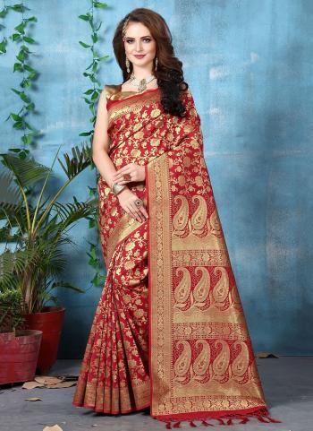 Maroon Banarasi Silk Festival Wear Zari Work Saree