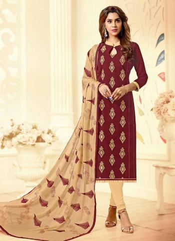 Maroon Cotton Regular Wear Embroidery Work Churidar Suit