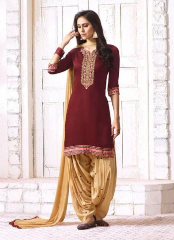 Maroon Cotton Satin Festival Wear Embroidery Work Patiala Style