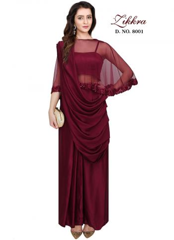 Maroon Crepe Silk Party Wear Hand Work Gown