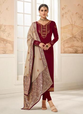 Maroon Georgette Festival Wear Embroidery Work Churidar Suit