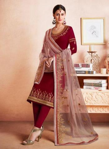 Maroon Georgette Satin Festival Wear Embroidery Work Churidar Suit