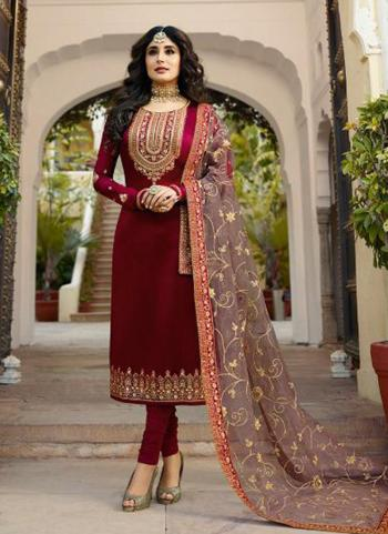 Maroon Georgette Satin Party Wear Embroidery Work Churidar Suit