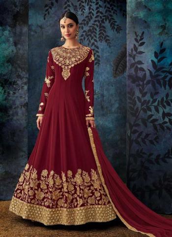 Maroon Georgette Wedding Wear Embroidery Work Anarkali Style