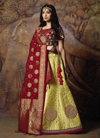 Maroon Jacqaurd Silk Reception Wear Thread Work Lehenga Choli