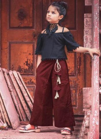 Maroon Khadi Party Wear Patch Work Kids Western Top