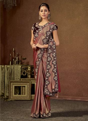 Maroon Lycra Wedding Wear Zari Work Saree