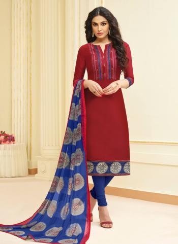Maroon Modal Cotton Regular Wear Embroidery Work Churidar Style