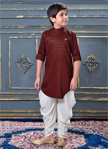 Maroon Modal Satin Party Wear Pleats Work Kids Dhoti Kurta