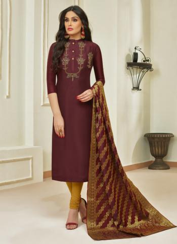 Maroon Muslin Cotton Daily Wear Embroidery Work Churidar Style